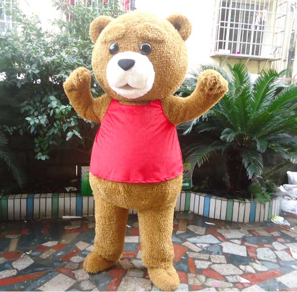 Teddy Costume Adult Fur Teddy Bear Mascotume Cost Adult Fancy Dress Clothing Halloween Party Funny Animal Bear Costume