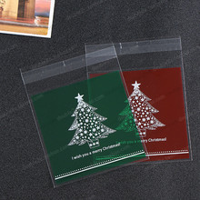 100pcs/lot Merry Christmas DIY Cookie Packaging,Christmas Trees Biscuits Candy Gift Bags Plastic Bags for Snack Baking Package