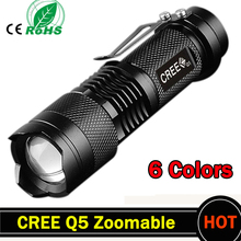 Mini LED Flashlight 2000LM Tactical Flashlight CREE Q5 LED Laterna 3 Mode Zoomable Portable Torch penlight 1*AA/1*14500 ZK93(China)