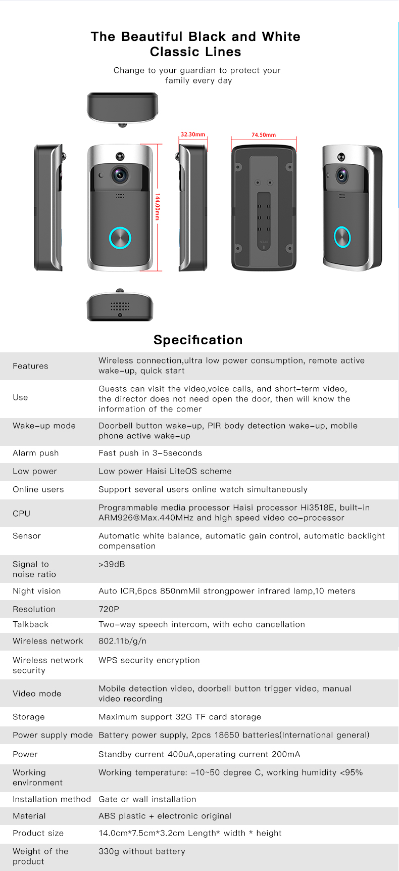 12 Wireless Doorbell Ring Chime Door Bell Video Camera WiFi IP 720P Waterproof IR Night Vision Two Way Audio
