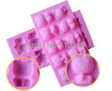 D007 Free shipping 1PCS Hello kitty shape Muffin Sweet Candy Jelly fondant Cake chocolate Mold Silicone tool Baking Pan