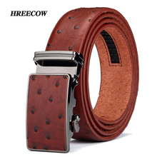 2017 New product brand luxury  automatic buckle cowhide yellow belt leather belts for men Ostrich grain pattern Hot Sale
