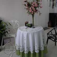 Rustic cloth embroidery embroidered dining table cloth tablecloth round table cloth cutout cover towel white rose