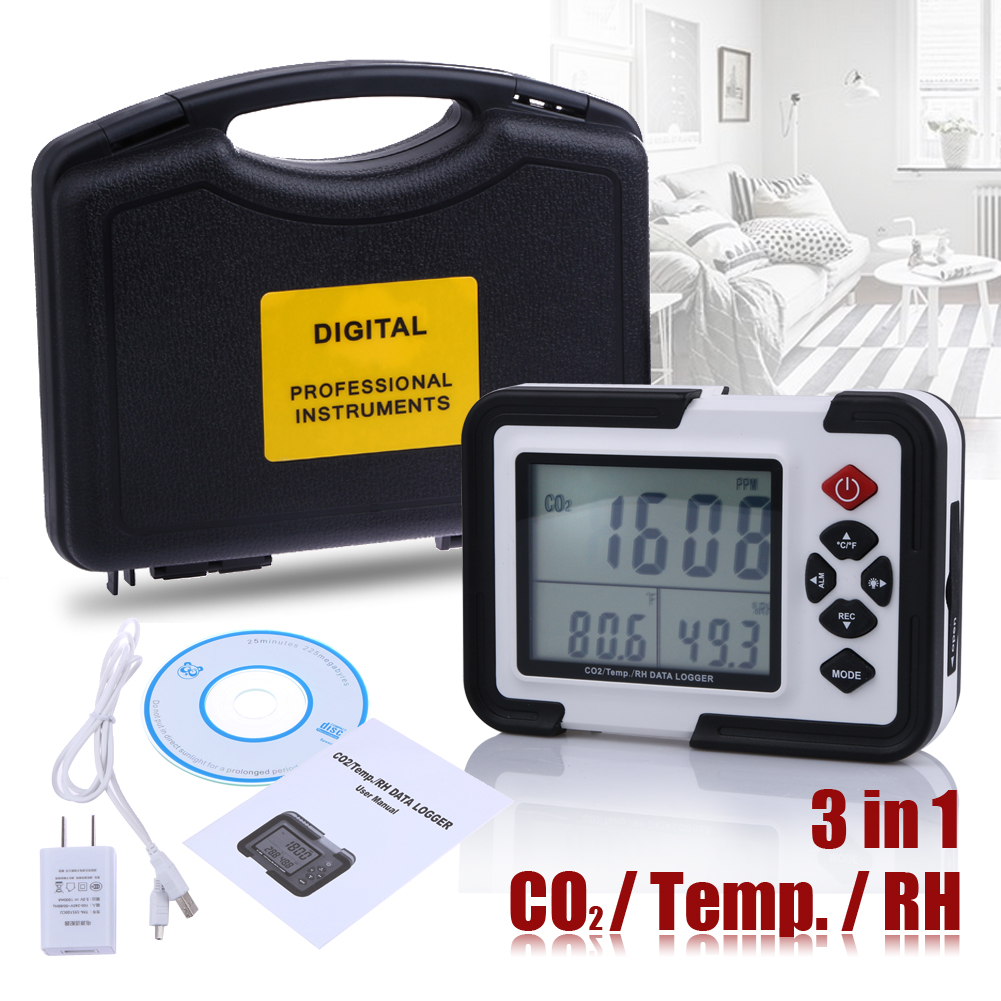 3.5 8.9cm LCD with Backlight 9999ppm Carbon Dioxide CO2 Monitor Detector Air Temperature Humidity Data Logger<br><br>Aliexpress