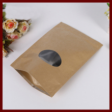 11*16+3 100pcs brown self zip lock kraft paper bags with window for gifts sweets and candy food tea jewelry retail package paper