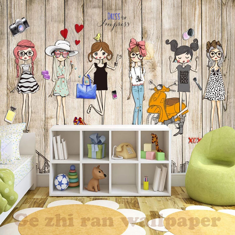 HTB1wz Tt1OSBuNjy0Fdq6zDnVXao - Custom 3D Mural Hand-Ppainted Fashion Girl Wallpaper For Children Room