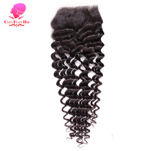 QUEEN BEAUTY HAIR Brazilian Lace Closure Deep Wave 4x4 Remy Human Hair Free Part Closure Bleached Knots With Baby Hair