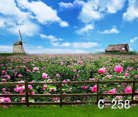 Free Digital spring flower Backdrop C-258,10*10ft vinyl photography,photo studio wedding background backdrops,fondos fotografia<br>
