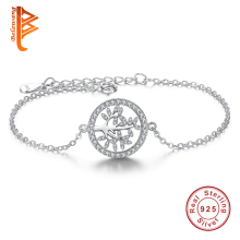 925 Sterling Silver Family Tree Link Chain Bracelet Clear Cubic Zirconia Charm Bracelet for Women Fashion Jewelry Pulseiras Gift(China)