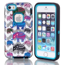 3 in 1 IMD 5S Elephants Case Cover For iPhone 5 5G 5S Free Gifts Screen Protective Film + Stylus Pen Free Shipping