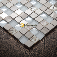 crystal glass mixed stone mosaic tiles with natural shells EHGM1075 for bathroom and kitchen backsplash free shipping