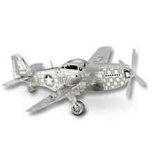 P-51 Mustang Aircraft Jigsaw Puzzle DIY Assemble Model 3D Metal Puzzle IQ Toys Stainless Steel Educational Kids Toys