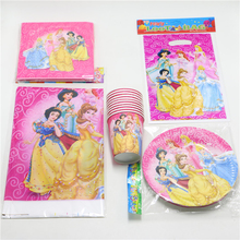 43pcs\lot Kids Favors Cups Decoration Tablecloth Napkins Princess Gifts bags Baby Shower  Paper Plates Birthday Party Supplies