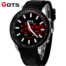 OTS Cool Black Mens 2016 Fashion Large Face LED Digital Outdoor Man Sports Watches Quartz Hodinky Military Luminous Wristwatches