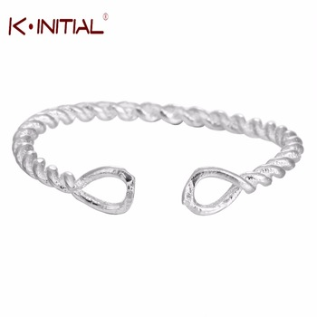 Kinitial 1Pcs Hot 925 Silver Twist Rings for Women Wedding Circle Knot Ring Jewelry High Quality Adjust Size Girl Christmas Gift