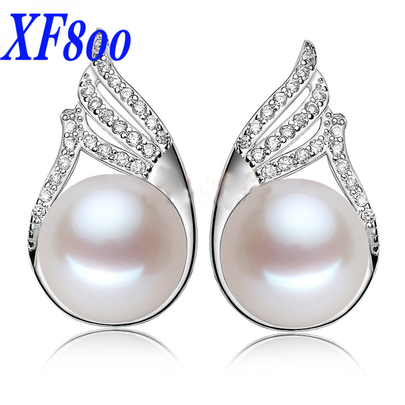 XF800 Max natural pear earrings, 10-11mm big size pearl stud earrings 3 color for choice best gift for women S07(China)