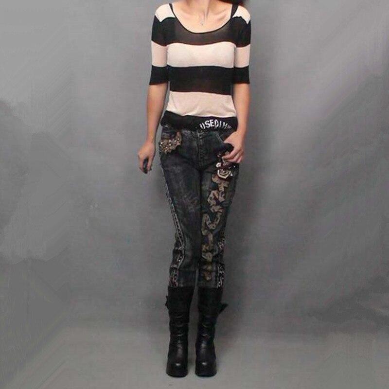Free Shipping 2017 New Denim Jeans Trousers For Women Zipper Rivet Decoration Rock Punk Tassel Jeans Pants Stretch Plus Size XLÎäåæäà è àêñåññóàðû<br><br>