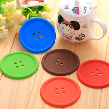 5pcs/set Creative Household Supplies Round Silicone Mat Coasters Cute Button Coasters Cup Mat -46(China)