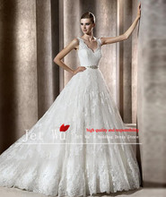 2014 hot sale ball gown high quality shoulder straps lace wedding dress gown from china winner queen wedding manufacturer 7004