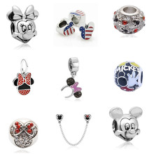 Popular Exquisite DIY European Beads Cartoon Mickey Minnie Beads Charms Fit Pandora Bracelet Big Hole  18 Styles Wholesale Price