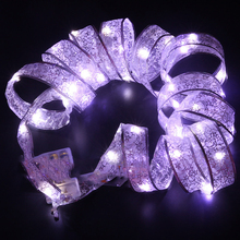 4m 40led Rainbow Colorful Organza Lace Ribbon Firefly LED String Lights Christmas tree ornaments Gifts Wraps party decoration
