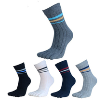 5Pair Fashion Crew Cotton Toe Socks Men New Brand Business Dress Socks Male Casual In Tube Five Finger Socks