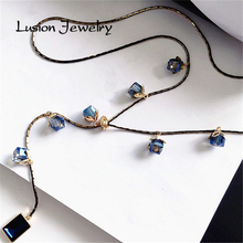 Lusion Jewelry for Women New Arrival Brand Accessories Luxurious Crystal Bud Branches Pendant Statement Necklace