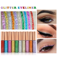 10 Colors/pack Glitter Eyeliner Waterproof Shimmer Pigment Colorful Shining Metallic Liquid Glitters Eye Liner Shadow Sticker(China)