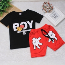New Toddler Baby Boy Summer Clothing Set Cartoon Mickey Pattern Short Sleeve Top + Pant Boy Kid Costume Chilren Cotton Clothes(China)