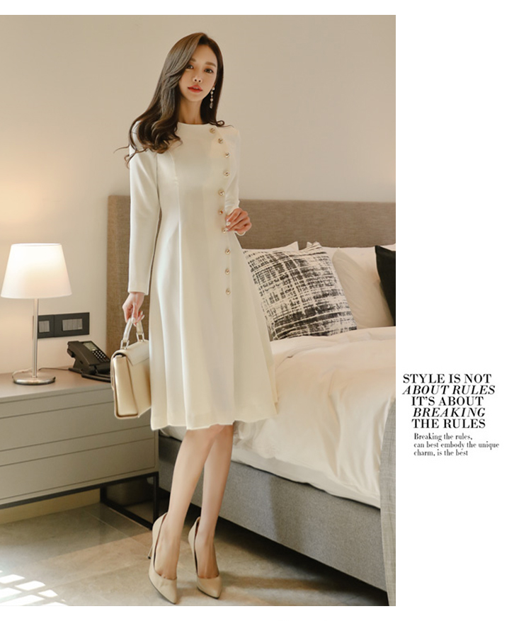 Elegant Dress Women Casual Long Sleeve Dress Office Lady Runway Designers High Fashion Dress 8