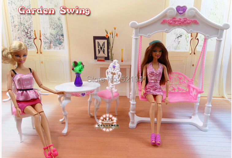 Free Shipping Girl birthday gift plastic Play Set Garden furniture, swing Gift Set doll furniture accessories for barbie doll<br>