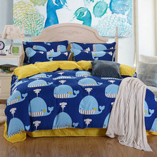 Fashionable home textile Bedding set 3 / 4pcs blue quilt cover soft and comfortable duver cover bed sheet bedding set set
