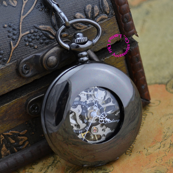 Coupon for wholesale price good quality antique man father smooth black hollow circle mechanical pocket watch necklace hour<br><br>Aliexpress