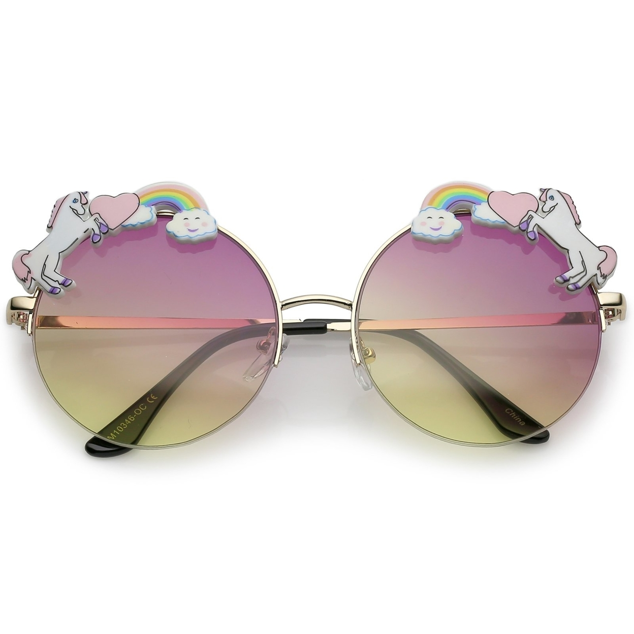 Unicorn Rainbow Semi Rimless Round Sunglasses With Gradient Colored Lens 56mm