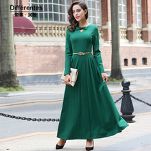 High Quality Newest Fashion Runway Maxi Dress Women's Long Sleeve Bowknot Designer Long Dress Plus size Party Clothing 5917(China)