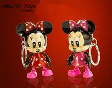 Cartoon Mickey Mouse Minnie mouse LED Keychain with Flashlight & Sound keyring for gifts pendant /Mini Torch Light