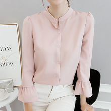 Buy New Women Spring Summer Shirts 2018 Office Work Stand Neck Blouses Fashion Plus Size Slim Flare Sleeve Casual Shirt White Tops for $7.31 in AliExpress store
