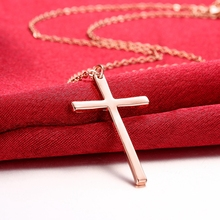Fashion Rose Gold Color Cross INRI Crucifix Jesus Pendant Necklace Men Women Chain Christian Statement Jewelry Christmas Gifts
