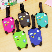 Rectangle Trolley Case Shaped Cartoon Travel Accessories Luggage Tag Suitcase Travel Bag Luggage Label(China)