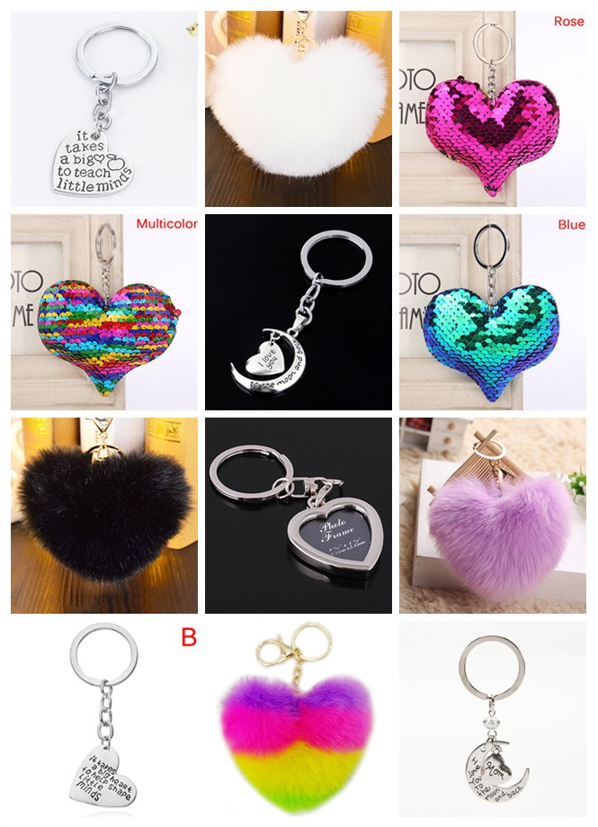 1pc Lovely Heart Shape Keychain Soft Pompon Faux Fur Car Key Ring Keychain Jewelry Gift