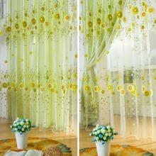 NEW Pastoral Sunflower Tulle Voile Window Curtain Drape Panel Sheer Scarfs Valances Window Scarfs Home Textile