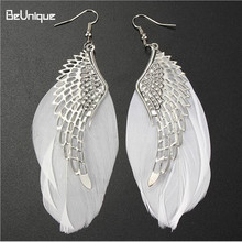 2017 New design Angel's wing Drop earrings White Feather alloy Ear Stud Wedding favors costume jewelry pendant Bride earring