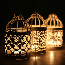 1 Pcs Hotel Club Villa Shop Window candlelight holder Iron Candlestick Wedding Decoration Metal Hollow Wind Candle Lamp random
