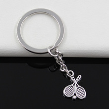 99Cents Keychain 18*14mm tennis racket Pendants DIY Men Jewelry Car Key Chain Ring Holder Souvenir For Gift