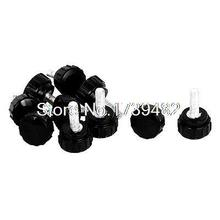 M5 x 15mm Male Thread Plastic Knurled Head Clamping Knob Jig Black 10pcs