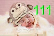 10pcs/lot Animal Monkey Hat Handmade Crochet baby hat Animal Shape Photography Props Baby Caps winter baby hats
