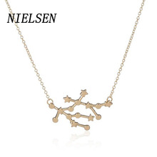 NIELSEN New Fashionable Fine Constellation Gemini Pendants Necklace Women'S Alloy Material Beads Chains Woman'S Jewelry Choker