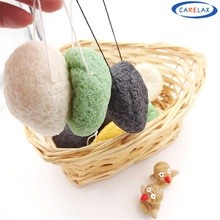 1pcs Natural Konjac Konnyaku Facial Puff Face Wash Cleansing Make up Sponge Green Black White 3color available esponja maquiagem