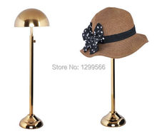 Free shipping high grade Titanium gold Stainless Steel Hat display stand cap showing stand Metal Hat Display holder rack(China)