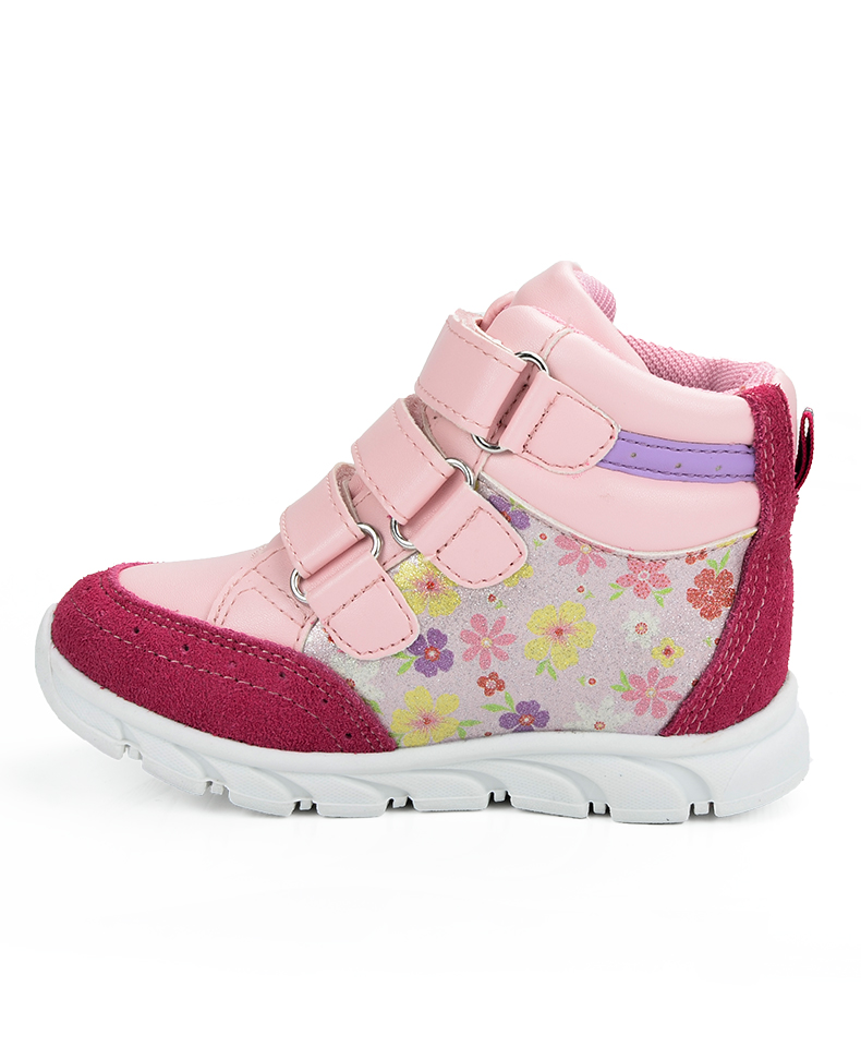 ULKNN Girls Sneakers Kids Shoes Girls Running Shoes Floral Print Breathable Genuine Leather Soft sapatos infantil Pink Size 20-25 (6)